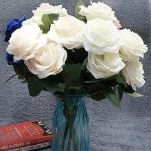 10 головок цветы искусственные Шелковая Роза цветок Искусственные Свадебные цветы украшения Искусственный букет Buch Свадебные украшения для домашнего праздника