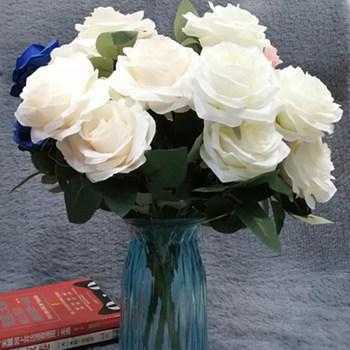 10 głów kwiaty sztuczny jedwabny kwiat róży sztuczne kwiaty dekoracje ślubne fałszywy bukiet Buch ślubne dekoracje domowe na przyjęcie tanie i dobre opinie ZIHANJIAU 47cm height Róża Bukiet kwiatów Ślub Jedwabiu