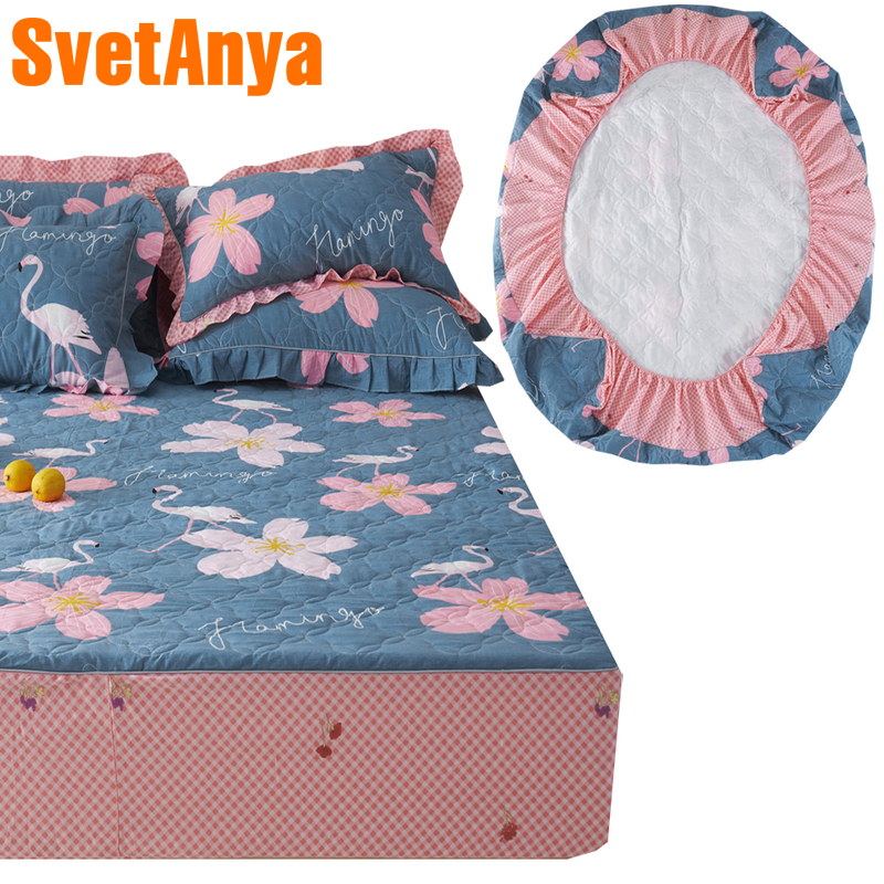 Svetanya thick quilted Fitted Sheet print Bedsheets Elastic Mattress Cover Protective Case Single full double queen Size mattress