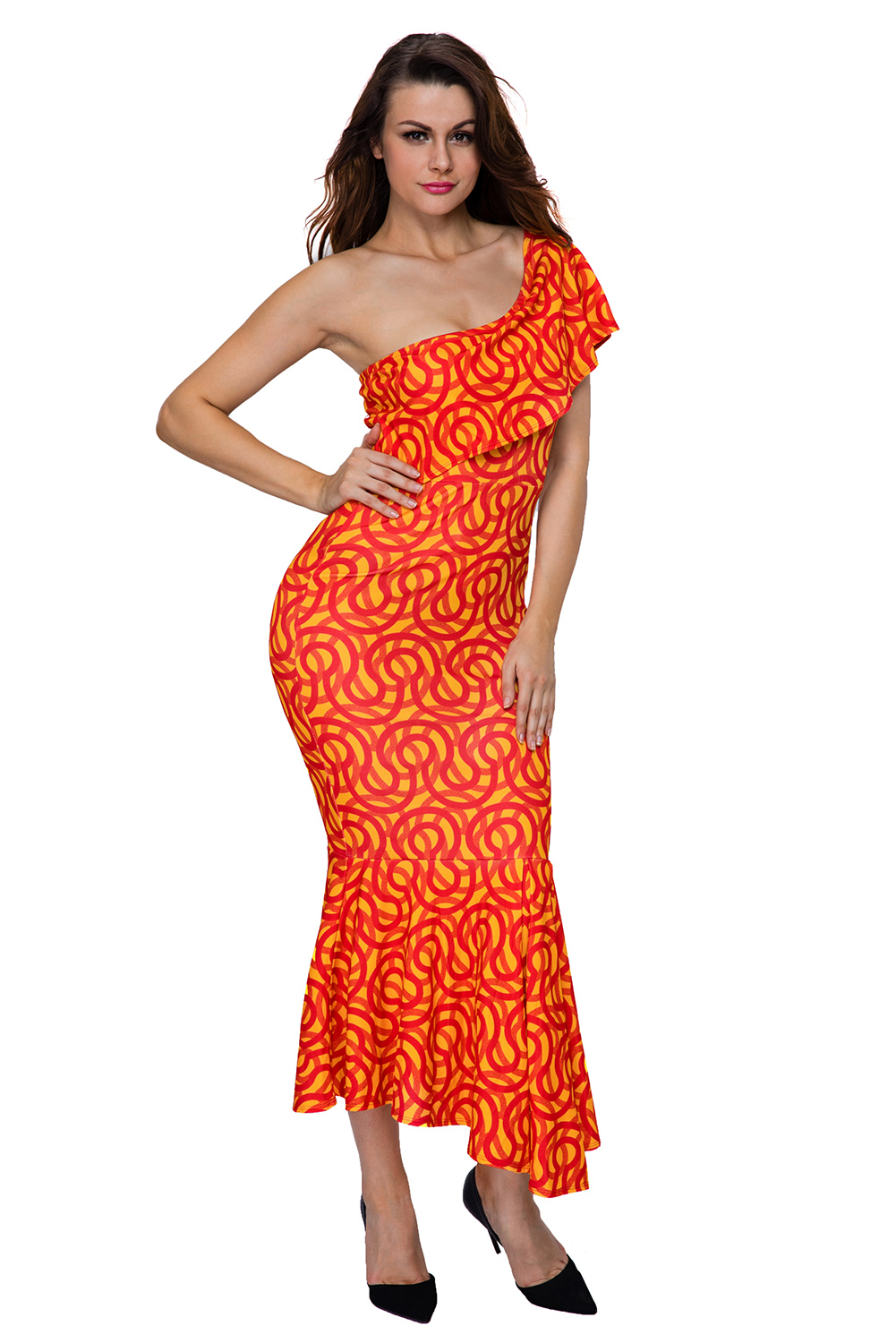 New Arrive Women Dresses Sexy Summer Special Design Single Shoulder Ruched Print One-Sleeved Mermaid Hem Africa Mid-Calf Dress