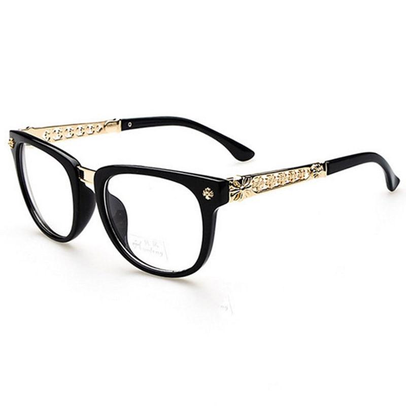 2016 Retro Metal Hollow flower Optical Plain Mirror Eyeglasses font b Frames b font Men Women