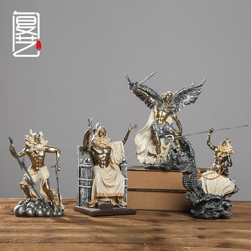 Obra de arte grabado a mano el antiguo mito griego estatua ornamentos creativo Bar cafetería Decoración retro muebles de escritorio-in Figuras y miniaturas from Hogar y Mascotas    1