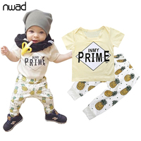 2017 Fashion Baby Kids Clothes Fashion Pineapple Print Toddler Boys Clothing Set Short Sleeved T-Shirt+Pants Newborn Suit FF331