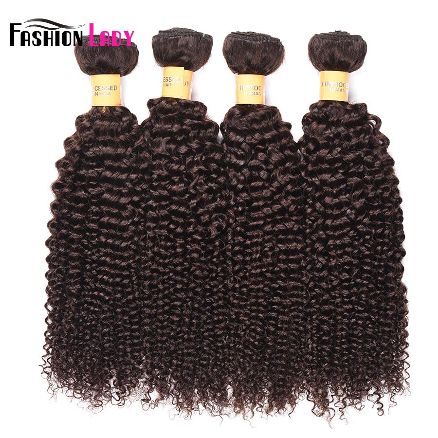 Fashion Lady Pre-Colored Kinky Curly Hair 1/3/4 Pcs Brazilian Hair Weave Bundles Non-Remy