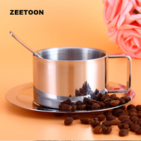 200ml European Style 304 Stainless Steel Double Insulation Hot Coffee Mug with Saucer and Spoon Tea Sets Afternoon Tea Wine Cup