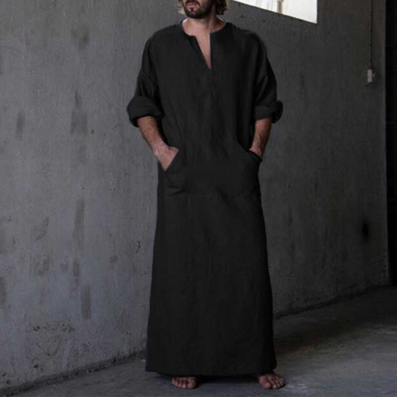 男性のシャツローブドレス長袖綿 100% V ネック全身イスラムアラブカフタン服ロパ Hombre イスラム教徒の Eid 衣装