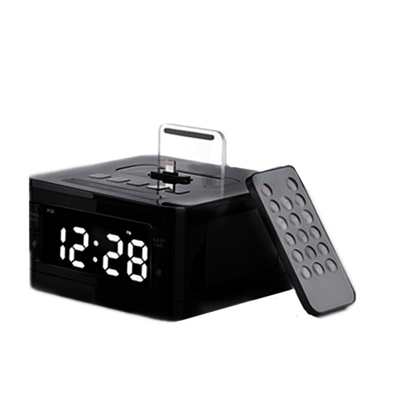 Brand LCD Digital FM Radio Alarm Clock Music Dock Charger Station Bluetooth  Stereo Speaker for iPhone 5s 6 6s plus for iphone 7-in Portable Speakers  from ...