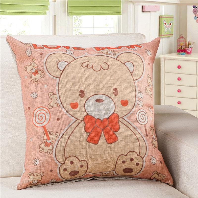 Cartoon Animal Baby Bear Cushion Cotton Linen Sofa Decorative Throw Pillows  Outdoor Seat Cushions For Chairs