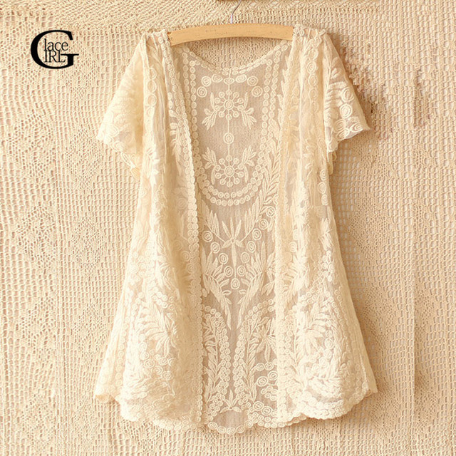 Lace Girl 2018 Summer Style Cardigan Women Blouses Hollow Out Casual