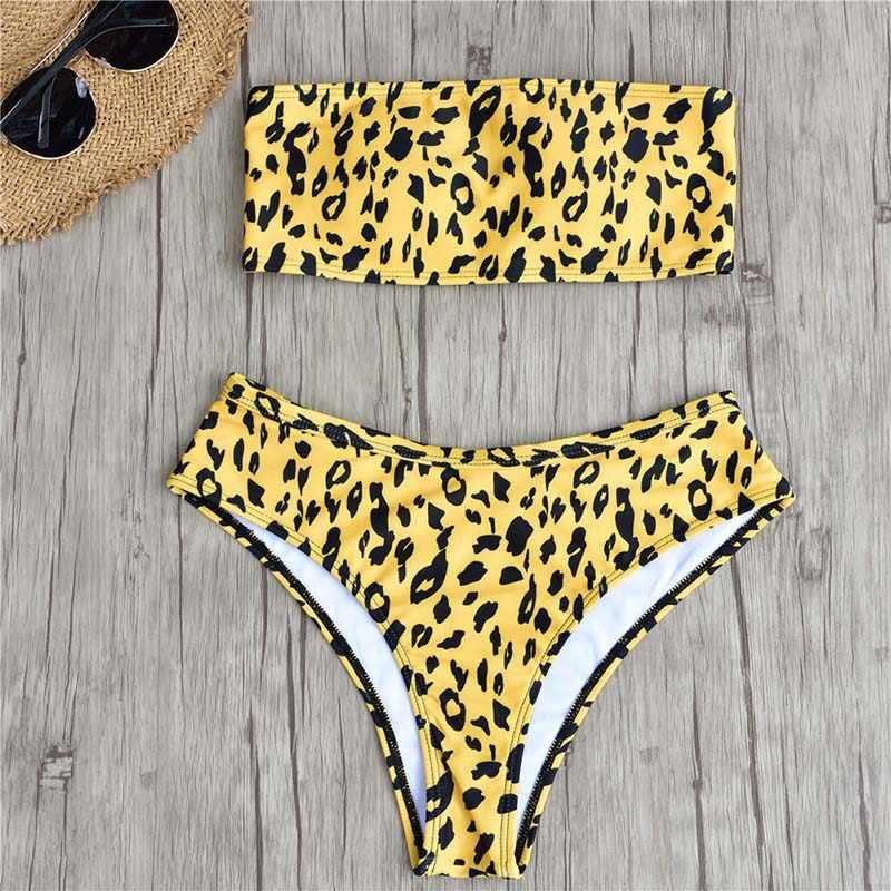 94f256621c Sexy Bandeau Bikini Cheetah Print Women Swimsuit Leopard 2019 Swimwear  Brazilian Biquinis Tube Top Bathing Suits