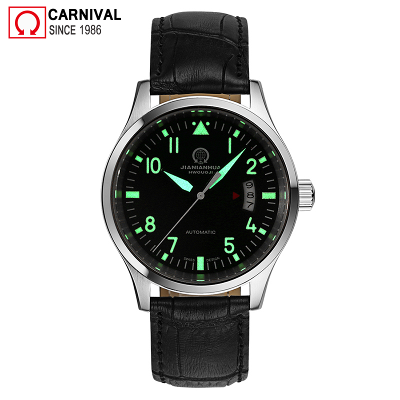 Carnival Fashion Automatic Watch Men Luminous Hands Mens Pilot Watches Top Brand Luxury Wristwatch Male Clock erkek kol saati