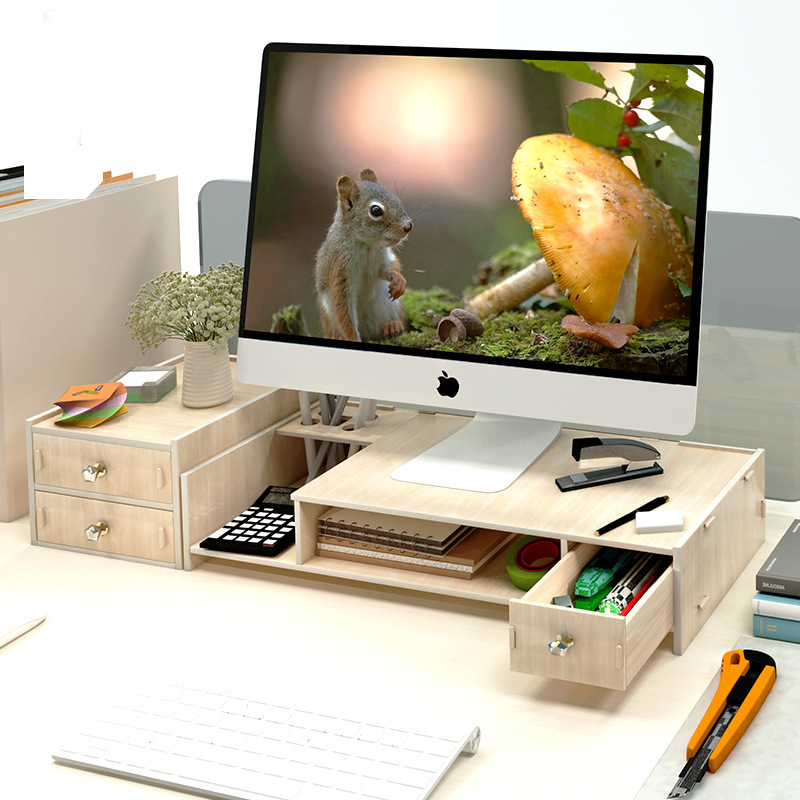 Imagen de Computer desk monitors add height frame Computer stand desktop with storage monitor base laptop desk PC table NoteBooks Office