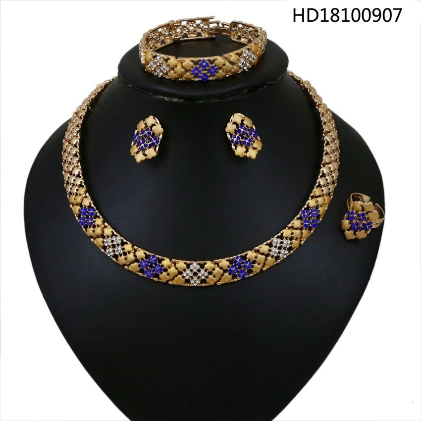 YULAILI New Arrival Free Shipping Wholesale Bridal Jewelry Set African Wedding Collar Choker Necklace Accessories joolim jewelry wholesale pink black flower choker collar necklace design jewelry wedding party jewelry drop shipping
