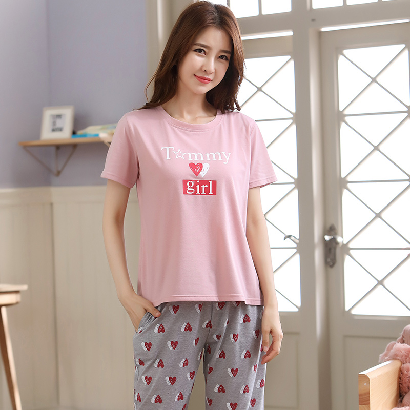 Image 2 - Summer Pajamas For Women Short Tops+Calf length Pants 100%Cotton Casual Loose Soft Plus Size M 5XL Women Pajamas Sets-in Pajama Sets from Underwear & Sleepwears