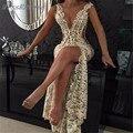 2017 Sexy Alta de Split Con Cuentas de Encaje Vestidos de Baile Profundo Escote en v applique moldeado de la blusa Vestidos de Noche Formales