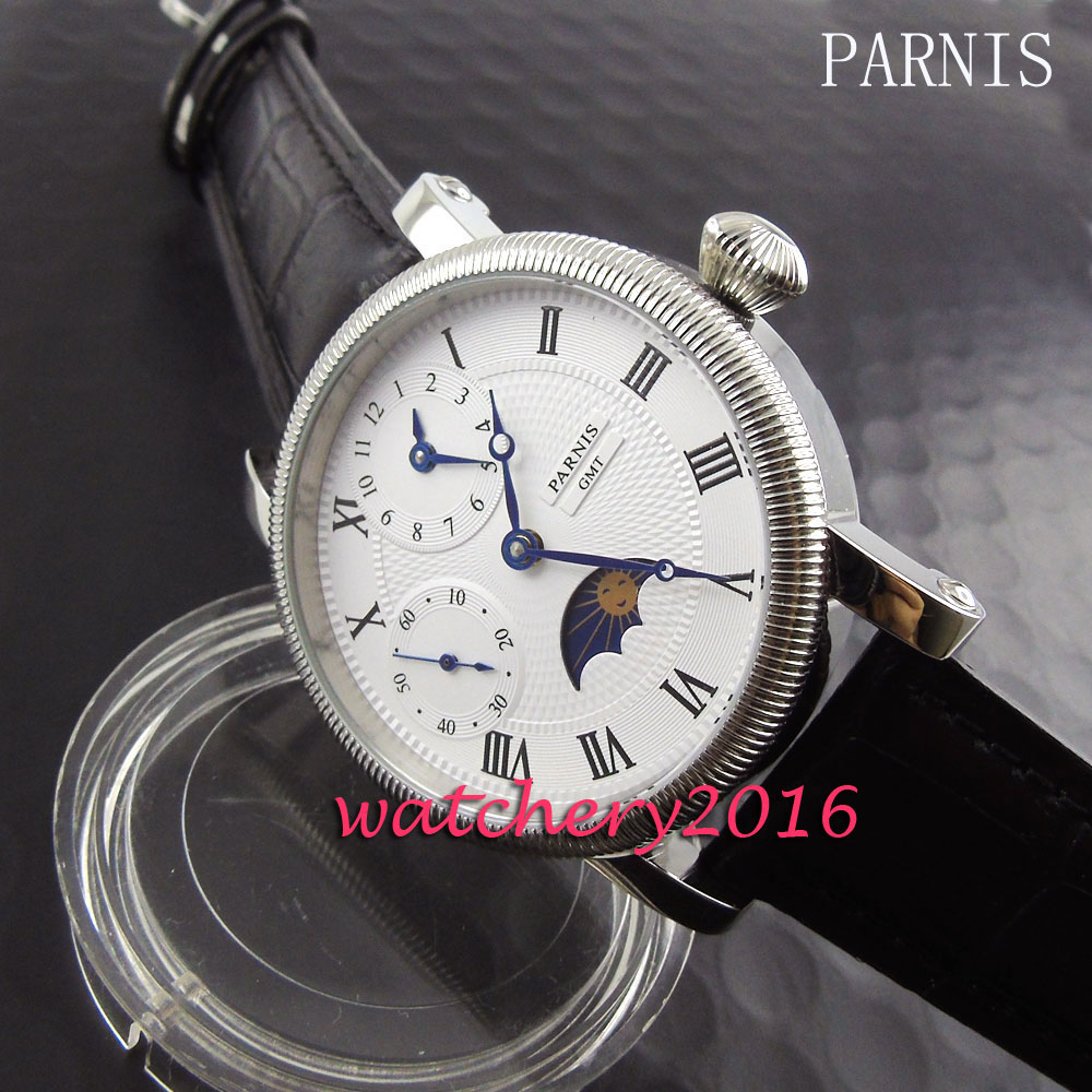 Fashion 42mm Pranis Moon Phase white dial GMT hand winding movement Men's business Watch 42mm parnis pink dial gmt moon phase hand winding movement mens watch pa061