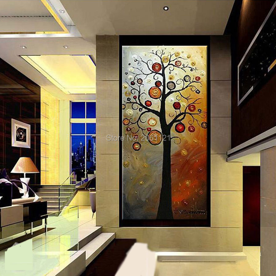 Tangan dicat lukisan minyak di atas kanvas pohon kehidupan abu-abu - Dekorasi rumah - Foto 5