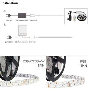Image 5 - Комплект светодиодных лент, 12 В постоянного тока, Светодиодная лента 5050 60 светодиодов/м 5 м с радиочастотным контроллером 2,4 г, источник питания 12 В, 5050 Светодиодная лента RGB RGBW RGBWW CWW