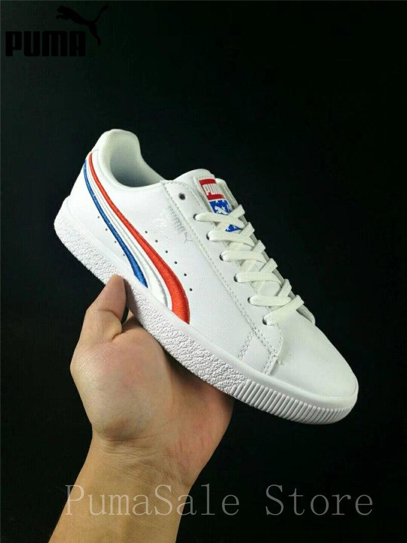 2093f7475 PUMA CLYDE hombres y mujeres Zapatos rojo/Blanco/azul bordado tendencia  zapatillas de deporte el día de la independencia de zapatos 36574301  zapatos ligeros ...