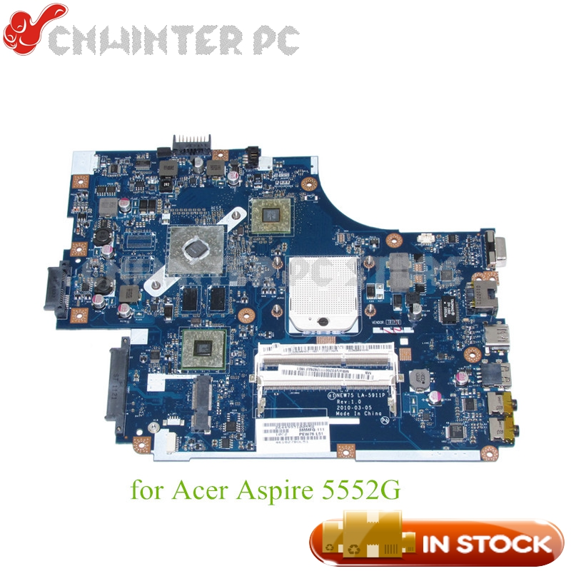 NOKOTION For Acer aspire 5551G 5552 5552G Laptop Motherboard NEW75 LA-5911P MBWVE02001 MB.WVE02.001 DDR3 HD6470M Free cpu nokotion la 5481p laptop motherboard for acer aspire 5516 5517 5532 mbpgy02001 mb pgy02 001 ddr2 free cpu mainboard