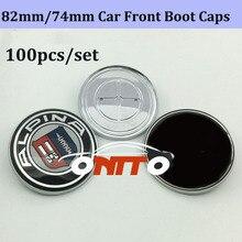 Accesorios para coche emblema delantero trasero al por mayor 100 piezas cabeza del coche emblema frontal Bonnet insignia fibra de carbono 82mm /74mm