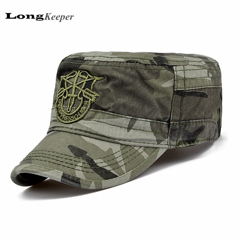 LongKeeper Tactical Caps for Men Flat Top Army Hats Army Baseball Caps Retro Vintage Adjustable Hat Camo Black Navy JU5 aetrue winter knitted hat beanie men scarf skullies beanies winter hats for women men caps gorras bonnet mask brand hats 2018