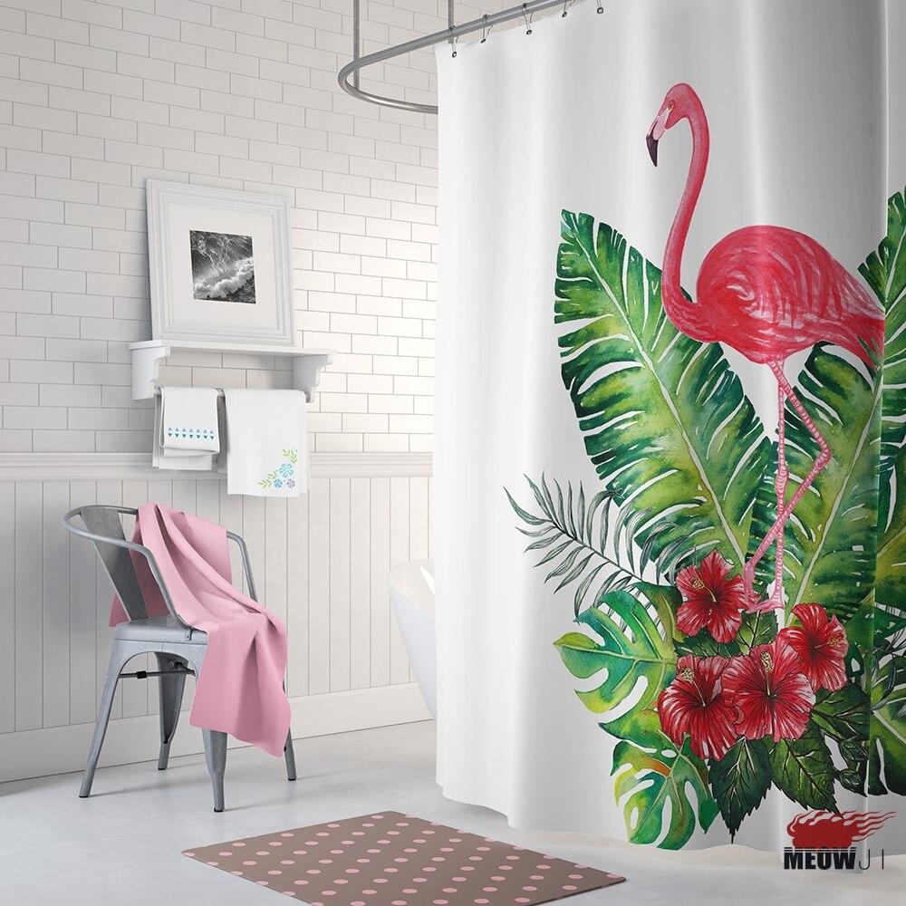 Mode Roze Flamingo Douchegordijn Gedrukt Polyester Stof Badkamer