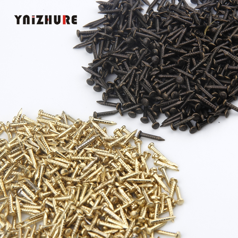 YNIZHURE 6mm 8mm 10mm 300PCS Round Furniture drum nail Fit Hinges Flat Round Head Phillips Cusp Fasteners Hardware gold bronze