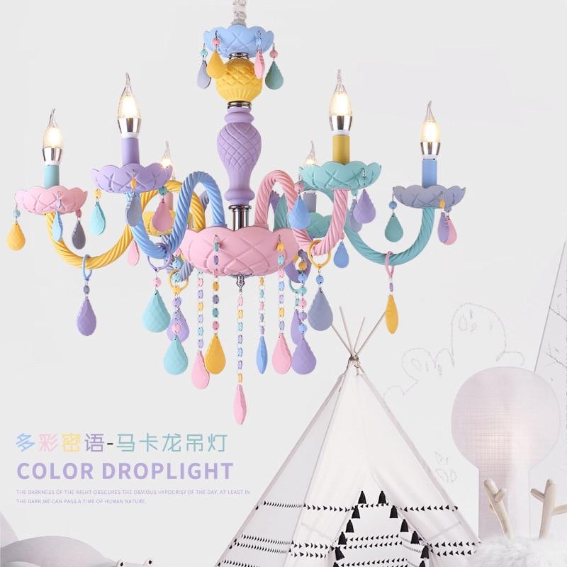 Macaron couleur suspension lampe blanche princesse fille enfants chambre chambre salle à manger cristal lumière E14 - 5