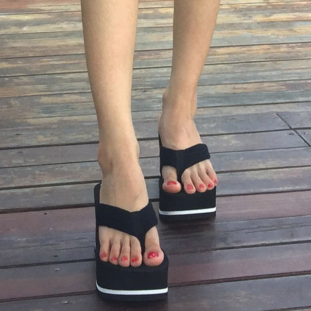 b1d0f5a5bc507 Pop Tide Black Wedge Platform Flip Flops Woman Shoes Nice Summer Women  Shoes High Heels Beach