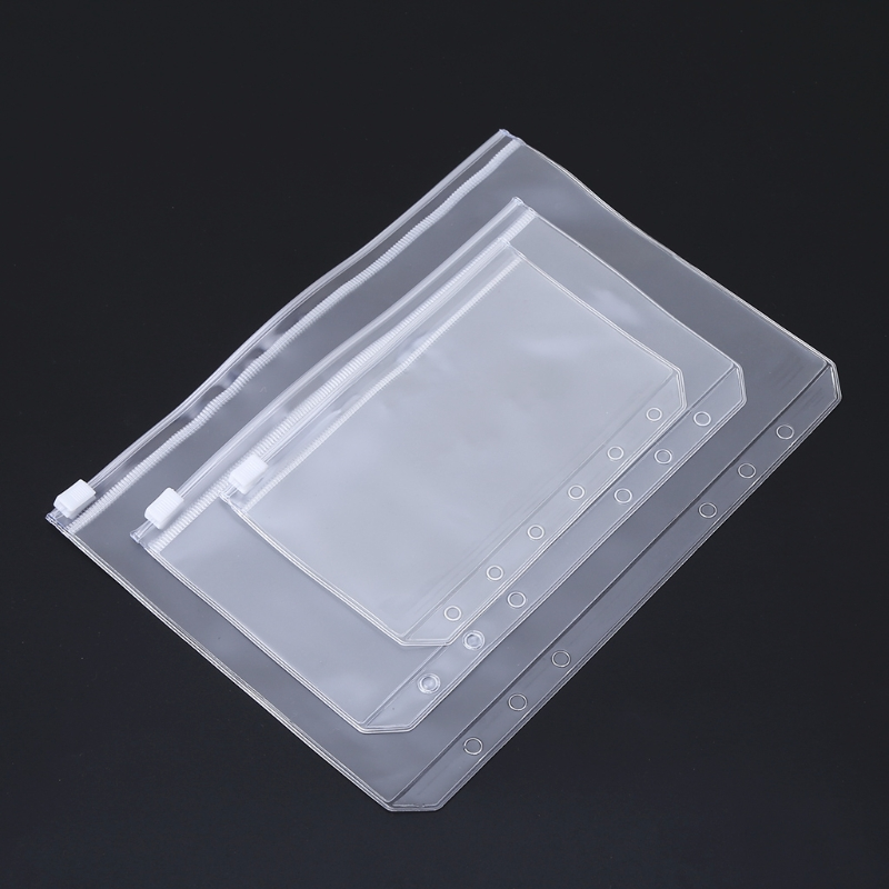 A5 A6 A7 Clear PVC Storage Bag Pouch For Notebook Diary Day Planner Zipper Business Cards