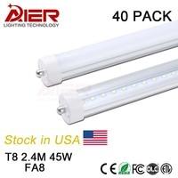 NOUS Stock + FA8 seule broche 2400mm led tube lumière 8ft avec 192 pcs SMD2835