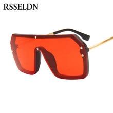 c7e9695cfe RSSELDN Rojo Negro sobredimensionado cuadrado gafas de sol Hombres Nuevo  2019 una pieza lente gran marco gafas de sol para las m.
