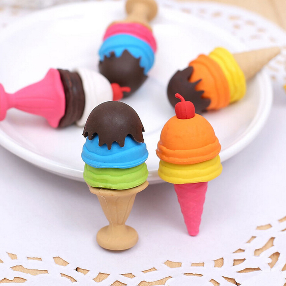 Removable Rubber Eraser Colorful Fashion Ice Cream Dessert Pencil Eraser Kawaii Stationery School Supplies Kids Gift