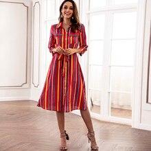 1462934bb612 Turn-down Collar Modest Striped Women Dress Pockets Midi A-line Vestidos  Sashes Autumn