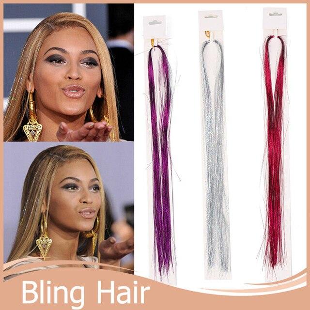 10pcslot Rainbow Clip In Hair Extensions Bellavia Tinsel Hair