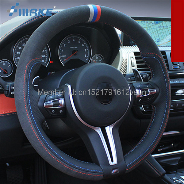 For BMW M4 High Quality Hand-stitched Anti-Slip Black Leather Black Suede Red Blue Thread DIY Steering Wheel Cover hal rubenstein new black stitched chain trim collarless suede jacket m $349 99