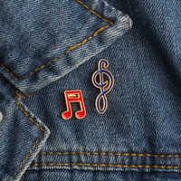 2 pièces/ensemble créatif dessin animé Note de musique émail broches broches mode métal Badges vêtements décoration musique broche de haute qualité