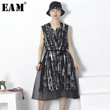 e48aa8bfad  EAM  2018 Summer Fashion New Black White Irregular Printed Tie Cardigan  Back Stitching Chiffon Sleeveless Women s Dress YC883