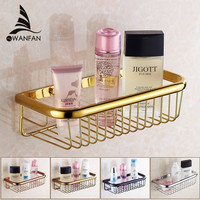 Free Shipping Wall Mounted Strong Brass Made And Chrome Finish Square Single Tier Bathroom Shelf Bathroom