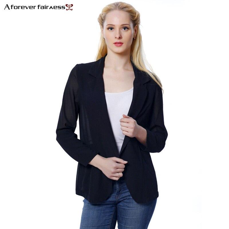 Un Ressort Toujours Noir Blazer Femmes À Manches Longues Entaillé Noir Slim  En Mousseline de Soie Blazer Veste Mode Femmes Costume Décontracté Veste  AFF369 b34f21e7df2