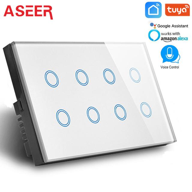 ASEER Tuya Smart Life APP Control WIFI Switch UK 110-240V,Crystal Glass 8 gang light wifi switch 600W,compatible Alexa Google