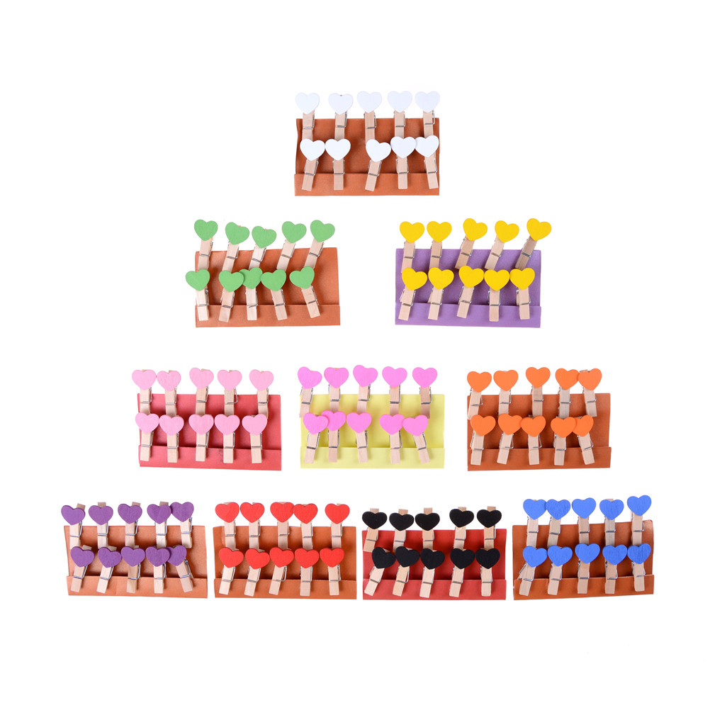 10 Pcs 2.5cm  Laundry Hangers Wedding Party Natural Clip Colorful Mini Wooden Clothes Photo Paper Peg Clothespin