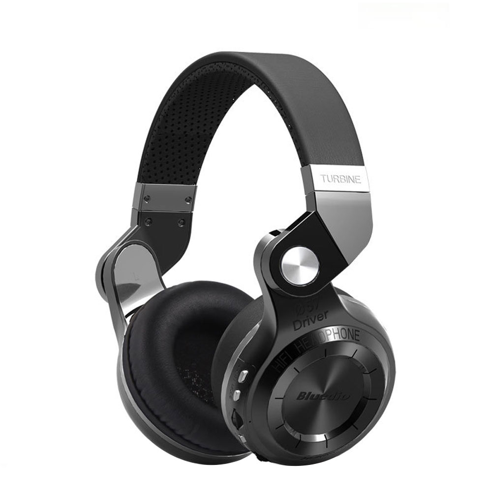 Bluedio T2s Bluetooth Leather Headphones with Mic Rotary Folding Wired and Wireless Sport Headset for iPhone