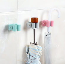 Hot 1pcs Wall Mounted Mop Umbrella Holder Brush Broom Hanger Storage Rack Kitchen Tool Organizer Hook Holder Gadget#15(China)