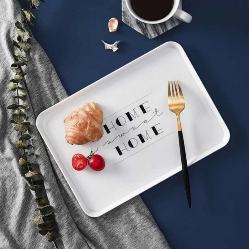 Nordic Nampan Makanan Dapur Roti Piring Sarapan Kopi Cangkir Teh Nampan Rumah Portable Multi-Fungsi Persegi Panjang Piring Hidangan