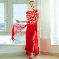 PIXY Summer Silk T Shirt Women Short Sleeve Red Print Pullover Beach Casual Ladies Tops High Quality Clothes harajuku Tee kawaii
