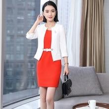 2018 nuevos estilos blanco elegante Primavera Verano negocio profesional de  las mujeres con trajes chaquetas y vestido para dama. ec1e0895ac6d