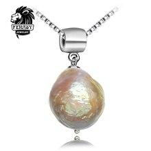 FENASY colgantes collar de Perlas naturales de ley 925 joyas de plata 2016 del encanto de la forma Irregular joyería de perlas 10-12mm grande perla