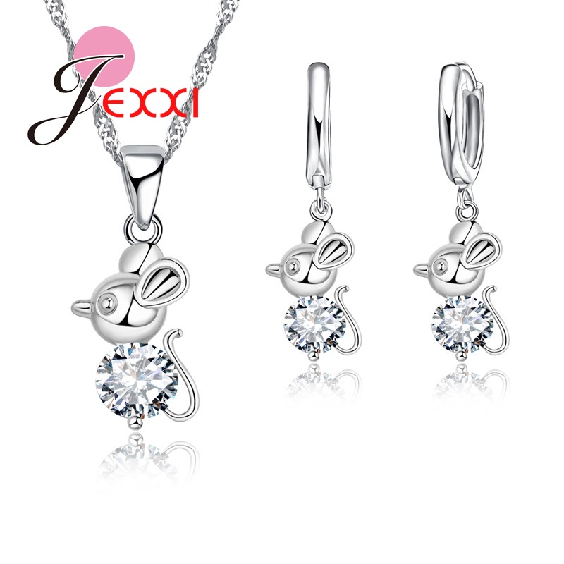 Wholesale 925 Sterling Silver Cute Animal Mouse Fashion Women Jewelry Set Necklace Earrings Silver Color Wedding Jewelry